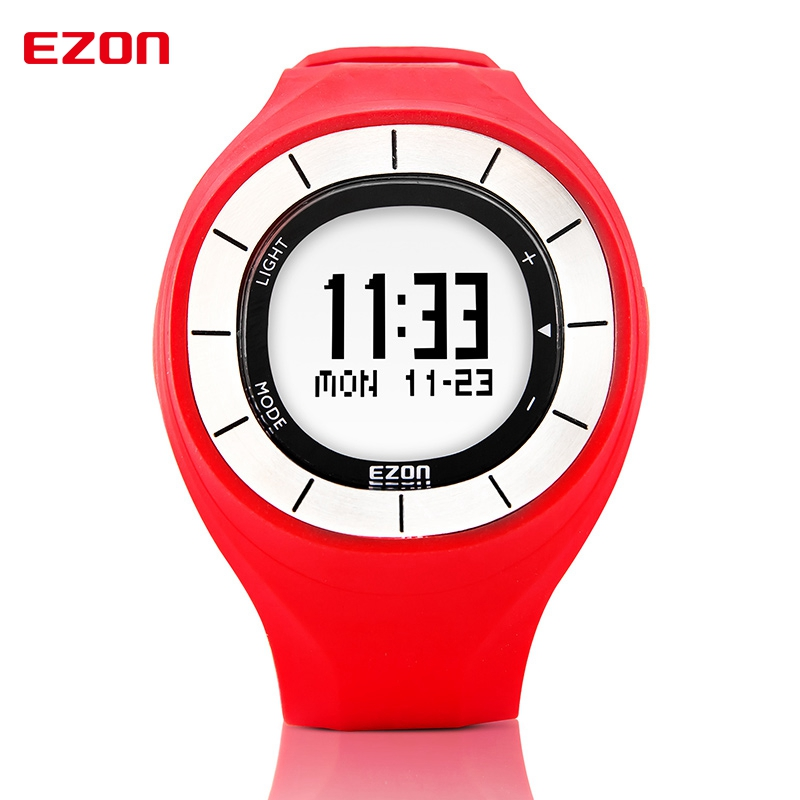 EZON Speed Pedometer Calories Counter Digital Wristwatch Fashion Rubber Clock Women Colorful Watch Sports Running Watches T028B1 multifunction digital pulse rate calories counter wrist watch orange 1 x 2032