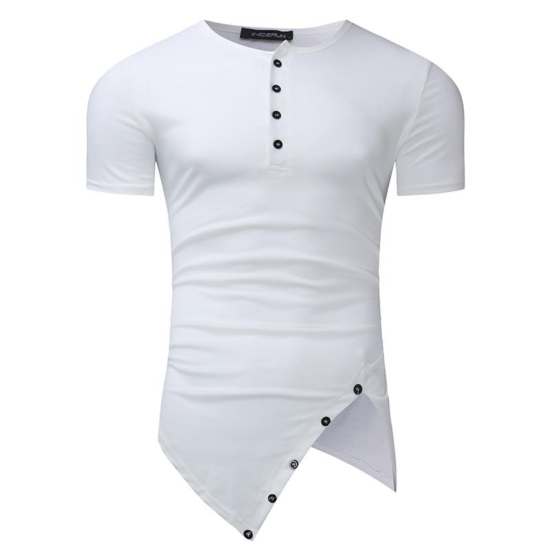 INCERUN Men Cotton   T  -  Shirt   2019 Short Sleeve Crew Round Neck Irregular Hem Long Casual Henley   T     Shirts   Male Tee Tops