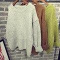 2017 Primavera Moda Outono Inverno Mulheres Sólidos Do Vintage Queda Ombro Knited Pullover Camisola de Manga Comprida Solta Top Básico