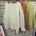 2017 Spring Autumn Winter Fashion Women Solid Vintage Drop Shoulder Pullover Sweater Long Sleeve Loose Knited Basic Top