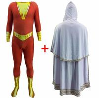 High quality Shazam Cosplay Captain Marvel Costume Billy Batson Jumpsuit Costumes Marvel Suit Superhero Halloween Men Kids