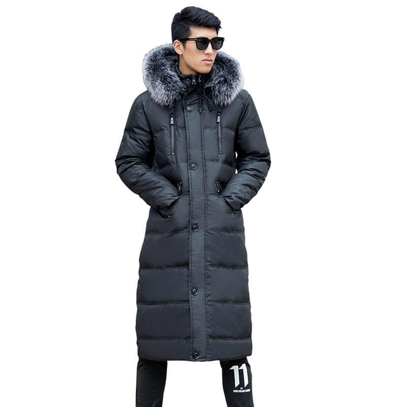 Männer Winter Mode Mantel Mit Kapuze Pelz Kragen Warme jacke Männer der Super lange größe L 14XL Über die Knie jacke 190 kg männer kleidung