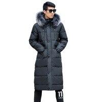 Men's Winter Fashion Coat Hooded Fur Collar Warm jacket Men's Super long size L 14XL Over the Knee jacket 190kg Men's clothing