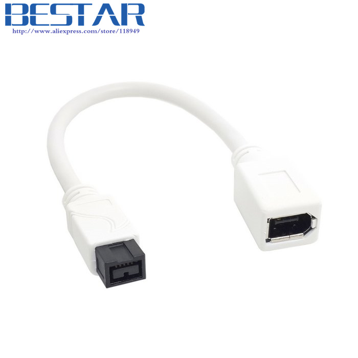 White IEEE 1394 IEEE1394 6PIN Female to 1394b 9PIN male Firewire 400 TO 800 Adapter Cable 10cm 0.1m ieee 1394 cable 1394b interface 6p 9p 6 pin to 9 pin 800 to 400 firewire cable acquisition card date cable 1 8m 3m 5m