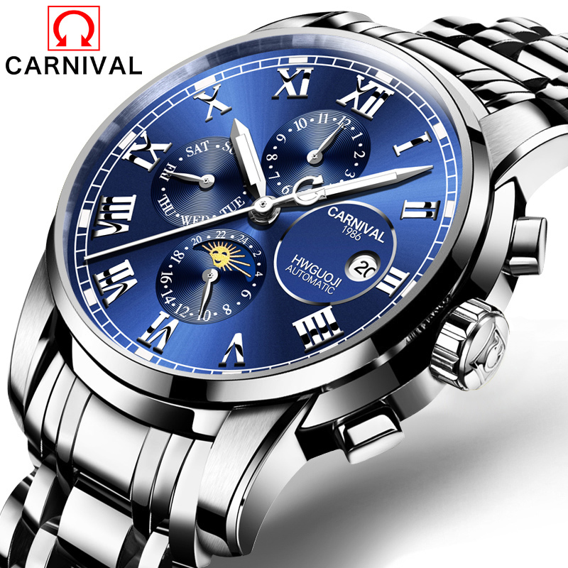 Carnival Business Multifunction Automatic Mechanical Watch Men Stainless Steel Waterproof Luminous Military Watches reloj hombreCarnival Business Multifunction Automatic Mechanical Watch Men Stainless Steel Waterproof Luminous Military Watches reloj hombre