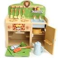 Grande safari park de madeira da cozinha kitchenette casa brincadeira de criança brinquedos de cozinha set 16 pcs estilo floresta mesa multifuncional fogões + forno +