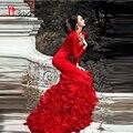 2017 Rojo Atractivo de La Sirena Larga Vestidos de Baile Con Cuello En V Manga Larga recién Llegado de Noche Formal Vestidos de Partido Tierd Vestidos de Lady Gaga Liyatt