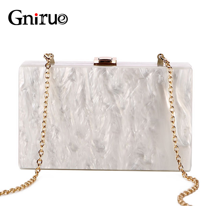 Fashion Elegant Acrylic Evening Bag Unique Marble Day Clutch Bag Chain Women Shoulder Crossbody Bags Ladies Party Handbag Wallet