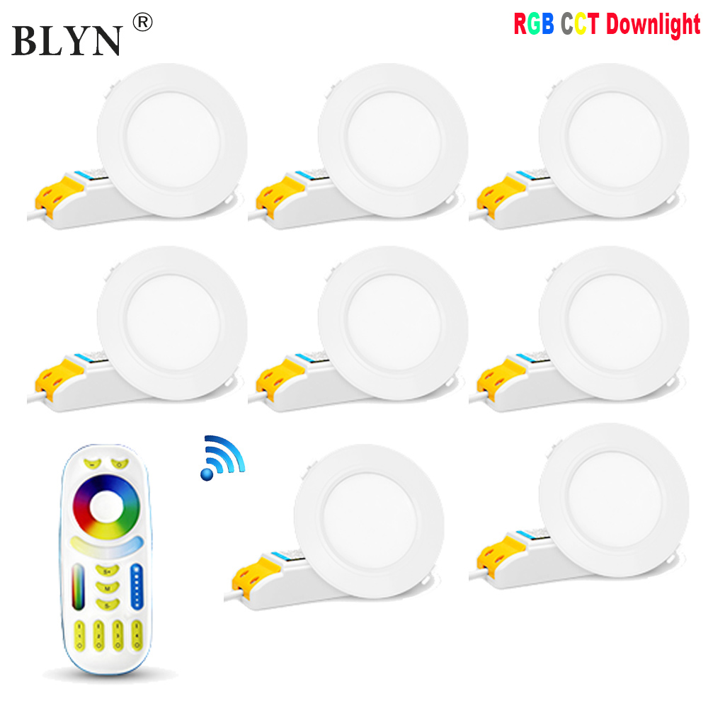 6W 12W RGB CCT LED Downlight For Ceiling Mi Light FUT068 FUT066 Round Panel Lamp Dimmable Group Control RF Remote Controller