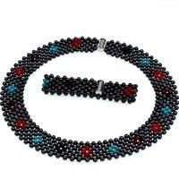 2018 Europe Brand Luxury New Design Hematite Stone Beads Woven Choker Necklace Jewelry Women Gift Party