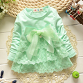 Spring Autumn lace Bow cute baby babi Party Wedding Birthday girls dresses, princess infant Long Sleeve Tops Dress S1056