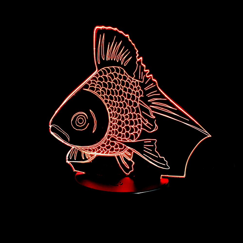 Hot NEW 7 Color changing 3D Bulbing Light Goldfish Fish Visual ...