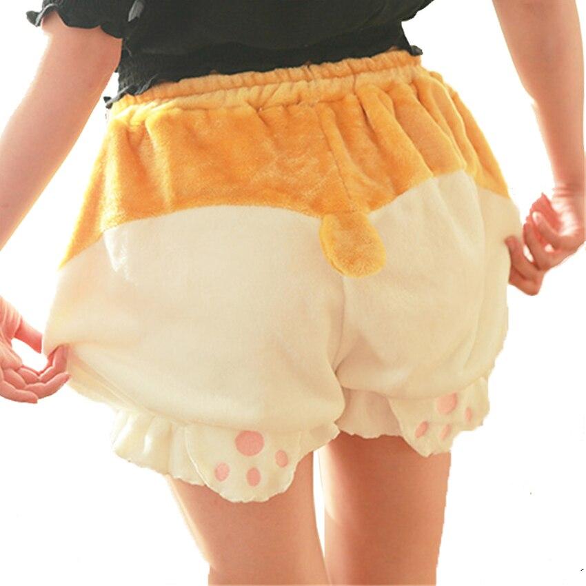 Cute Sleep Bottoms Shorts Women Lolita Girls Kawaii Corgi Hip Shorts Bloomers Pajamas Elastic Waist