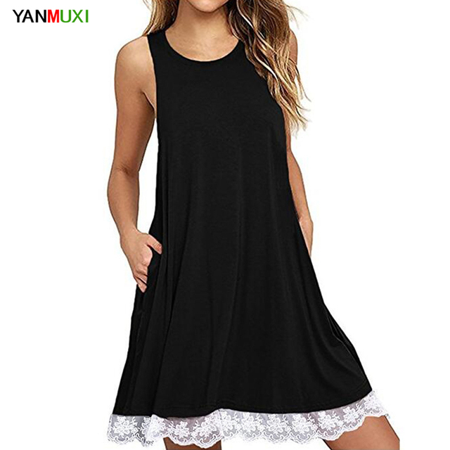 Women Plus Size Lace Stitching Dress 2018 Casual Loose XXL Tank Top ...