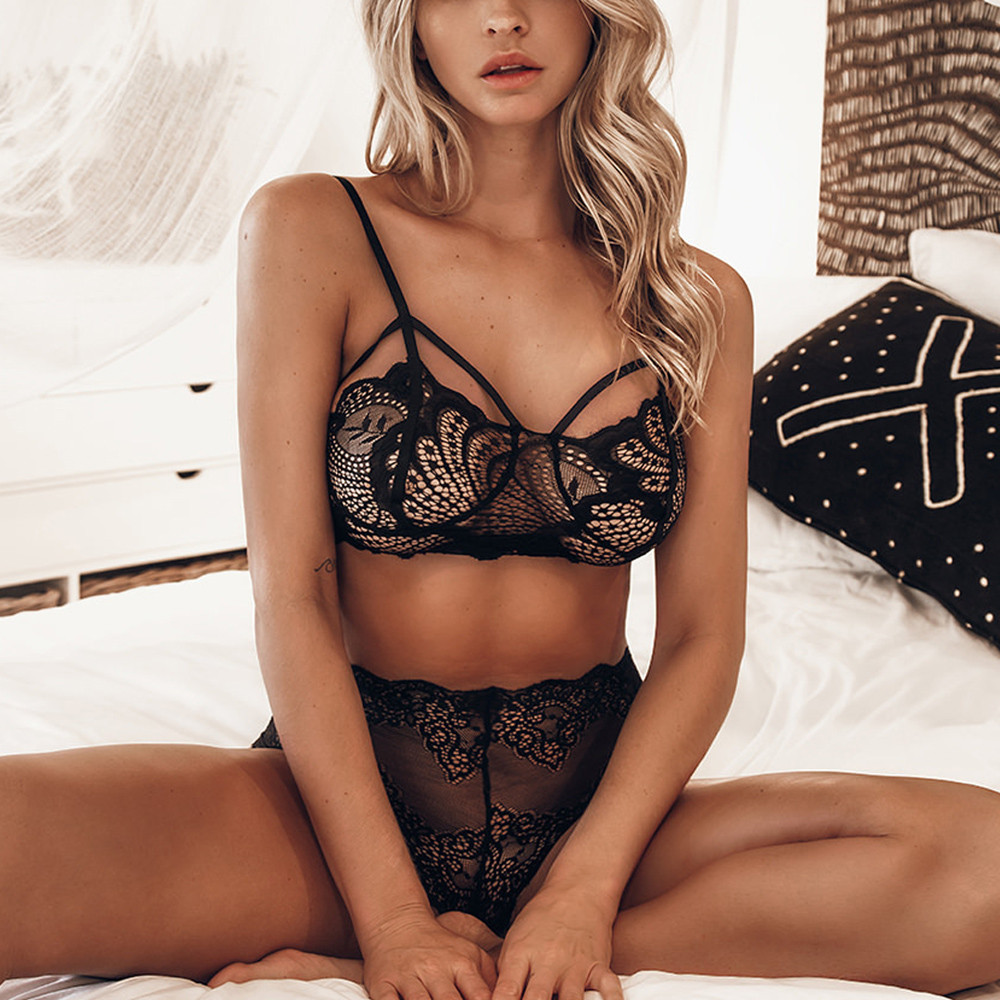Buy Women Sling Vest Sexy Lace Briefs Perspective Underwear Set  chastity belt crotchless sexy lingerie