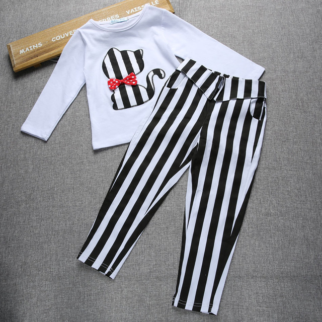 2016 New Girls Clothing Sets Kids Baby Girls Clothes Suit Children Long Sleeve T-Shirt +Striped Pants Roupas Infantil Meninas