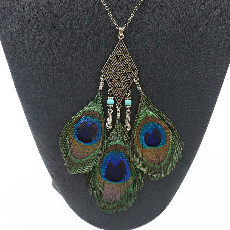 New Fashion Peacock Necklace Bohemia Style Jewelry Beads Ethnic Long Feather Necklace For Women Statement Jewelry bijoux collier