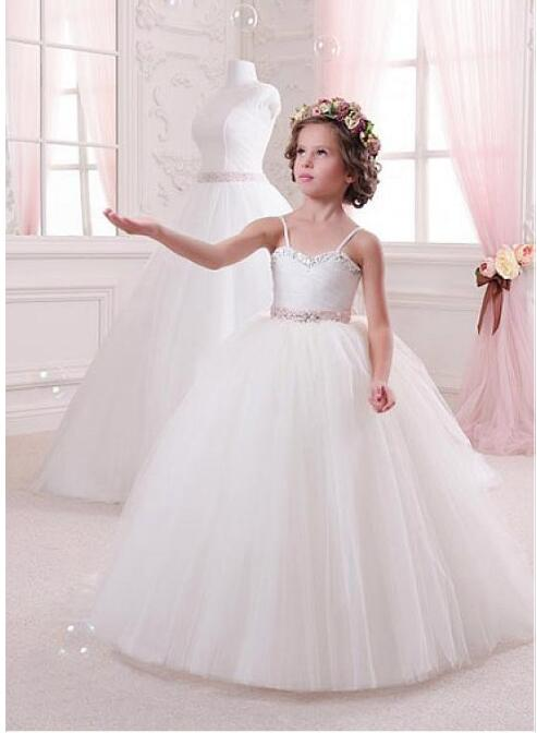 Charming Spaghetti Straps Ball Gown Flower Girl Dresses With Beads Lace Up Back Puffy Organza Girls Communion Gown White Ivory