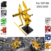 CNC Aluminum Adjustable Rearsets Foot Pegs For Yamaha YZF R6 YZF-R6 2003 2004 2005 free customize fairing kit fit for yamaha r6 2003 2004 2005 yellow matte black yzf r6 fairings set 03 04 05 156