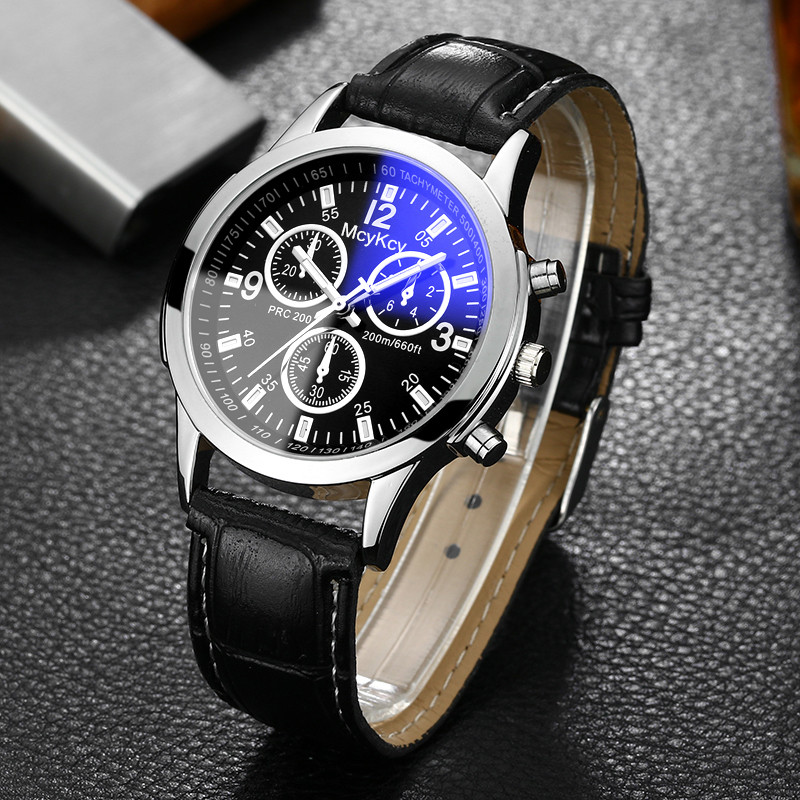 Luxe heren 3-ogen blauw glas horloges mannen mode-business echt leer - Herenhorloges