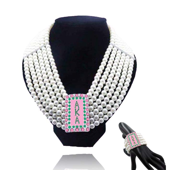 Topvekso Fashion White Pearl AKA pink and green Big Multilayer Statement Necklace Bracelet set Jewelry Choker