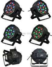 Hot 2016!18*3W Led Stage Light High Power RGB Par Light With DMX512 Master Slave Led Flat DJ Equipments Controller,Free shipping