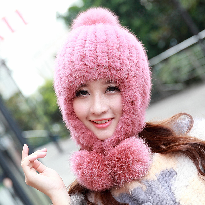 Russia 2016 Hot Sale Real Mink Knitted Fur Hat Autumn Winter Warm Thick Ear Beanies Cap With Fox Fur Pom Poms Female Cap QM0118 hot sale real rabbit fur hats for women winter knitting wool hat women s beanies 2015 brand new thick female casual girls cap