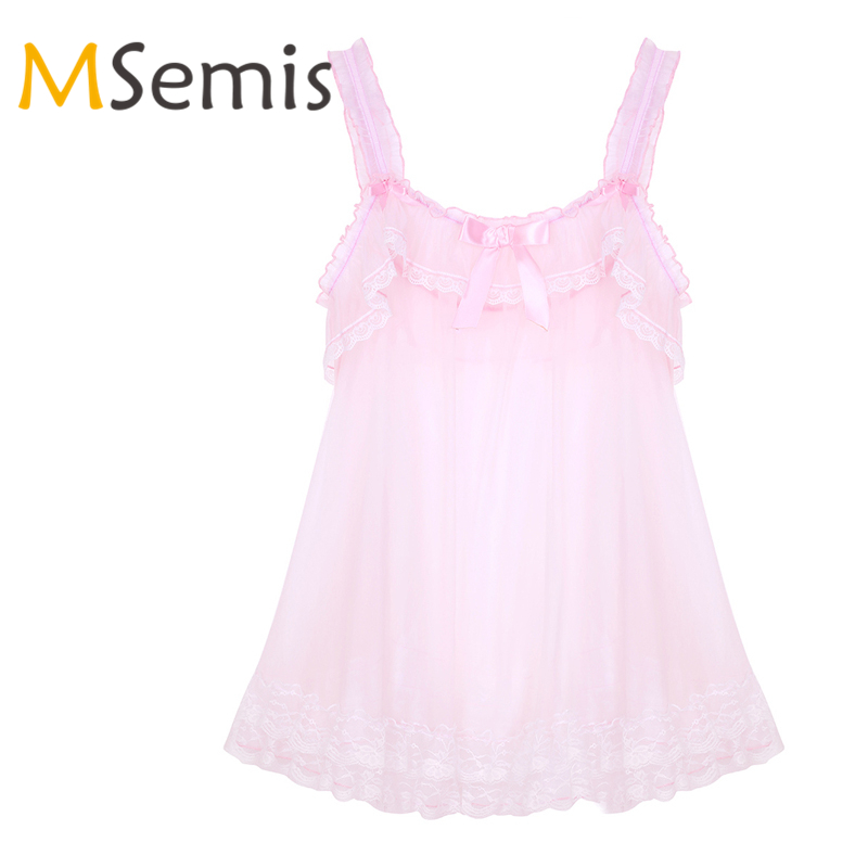 <font><b>Sexy</b></font> <font><b>Lingerie</b></font> <font><b>Mens</b></font> Sissy See Through Sheer Dress Babydoll Femme Elastic Shoulder Straps Frilly Ruffled Lace Hem Soft Tulle Dress image