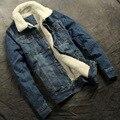 Nova outono e inverno 2017 homens boutique de moda lã quente espessamento jaqueta jeans casaco de lazer/Homem magro jaquetas casuais casaco