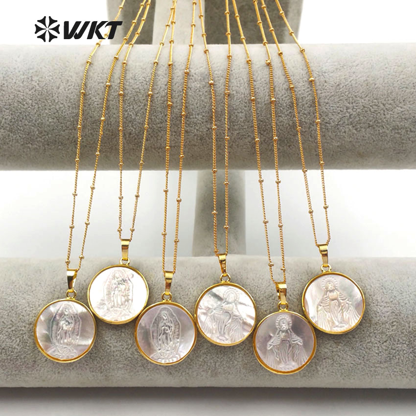 WT JN032 WKT wholesale 10pcs lot religion style necklaces natural shell round pendants virgin women jewelry