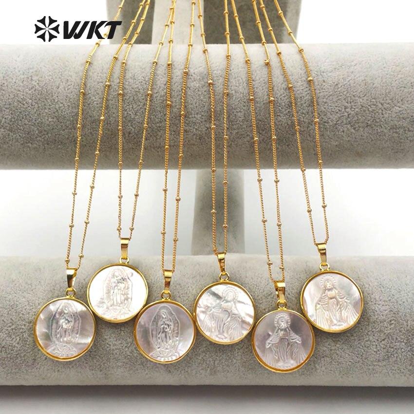 WT JN032 WKT großhandel 10 teile/los religion stil halsketten natürliche shell runde anhänger reine frauen schmuck mit 18 zoll kette-in Anhänger-Halsketten aus Schmuck und Accessoires bei  Gruppe 1