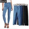 Popular Europe and American Women Skinny Jeans 5 Colors High Waist Gray Pencil Pants Sexy Wrap Hip Slim Trousers Woman Juniors