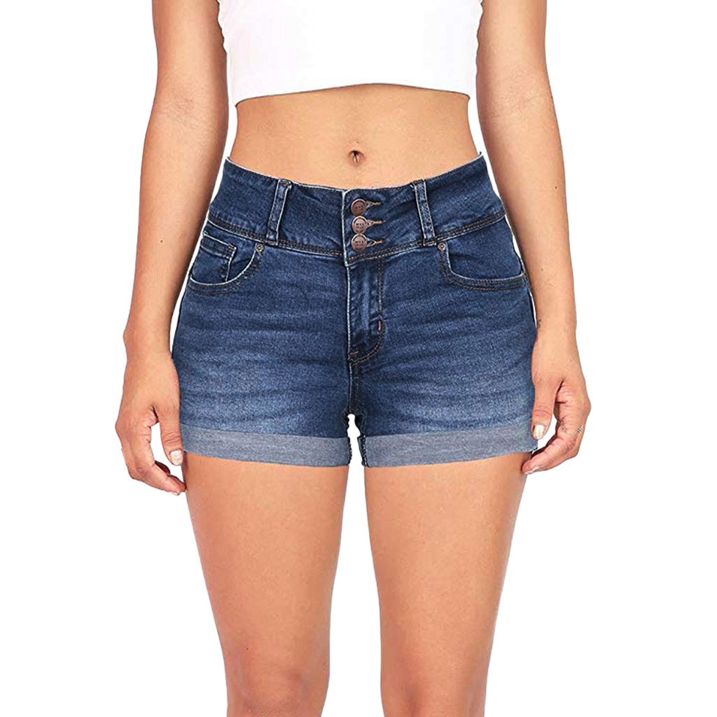 Casual Denim   Shorts   Women Mid Waist Washed Solid falda   Short   Mini Jeans Denim biker   short   High Quality   Shorts   For Summer new