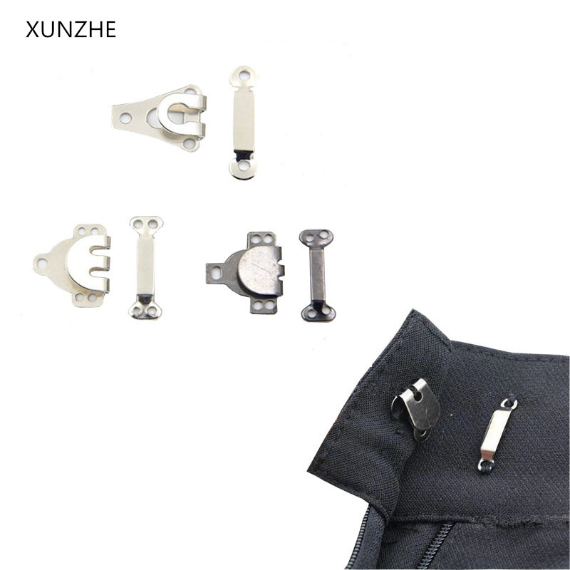 XUNZHE 50PCS DIY Trousers Pants Skirts Hooks Brass Hook Trousers Sew-on Silver Black Color Four Kinds of Size Sewing Accessor