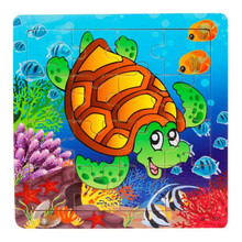 Fashion Wooden Kids 16 Piece Jigsaw Toys For Children Education And Learning Puzzles Toys Free Shipping