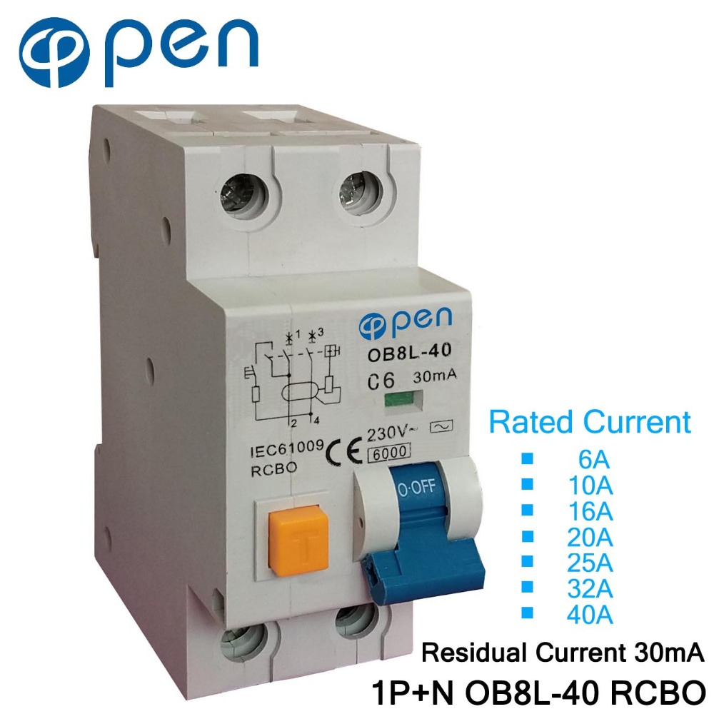 OB8L-40 1P+N 6A/10A/16A/20A/25A/32A/40A Residual Current 30mA Electromagnetic RCBO for Overload and Short Circuit Protection idpna vigi dpnl rcbo 6a 32a 25a 20a 16a 10a 18mm 230v 30ma residual current circuit breaker leakage protection mcb a9d91620