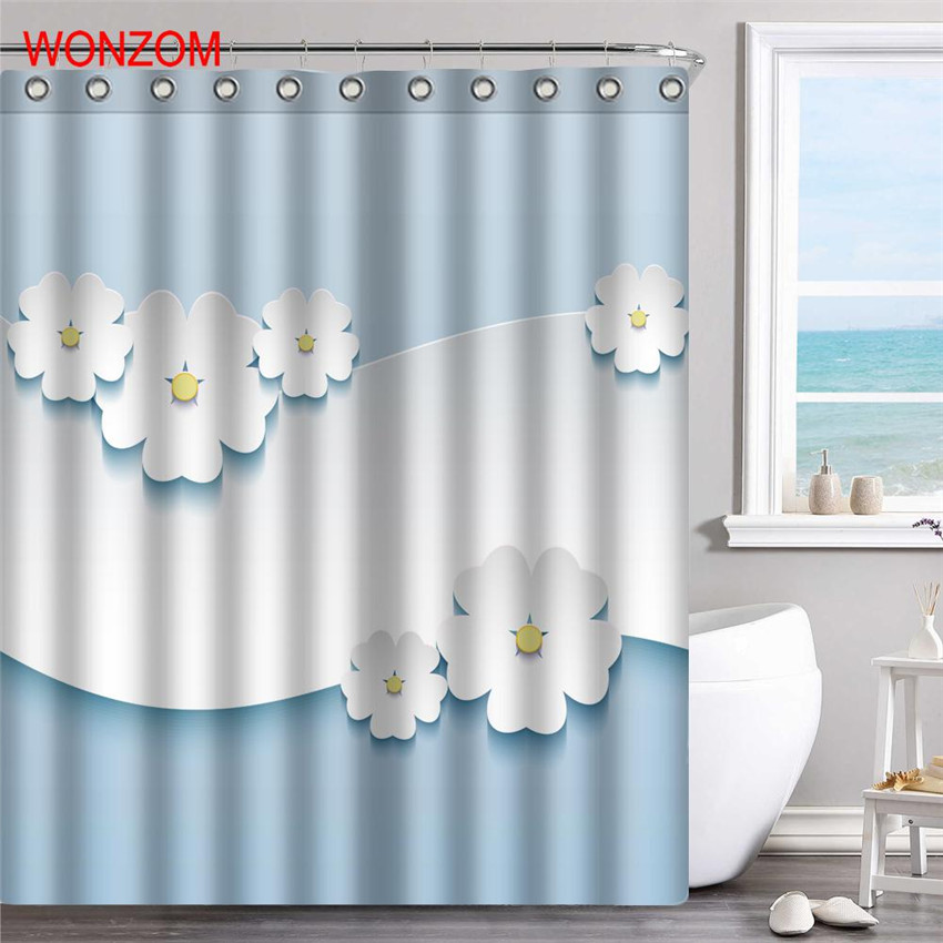 WONZOM Elegant Flower Polyester Fabric Rose Shower Curtain Bathroom Decor Waterproof Cortina De Bano With 12 Hooks Gift 2017 in Shower Curtains from Home Garden