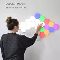 Colorful Quantum Lamp Led Hexagonal Lamps Modular Touch Sensitive Night Light Magnetic Hexagons Creative Decoration Wall Lampara