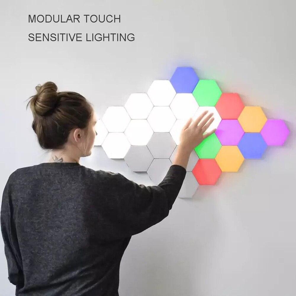 Lampe quantique colorée Led lampes hexagonales modulaire tactile sensible veilleuse hexagones magnétiques décoration créative mur Lampara