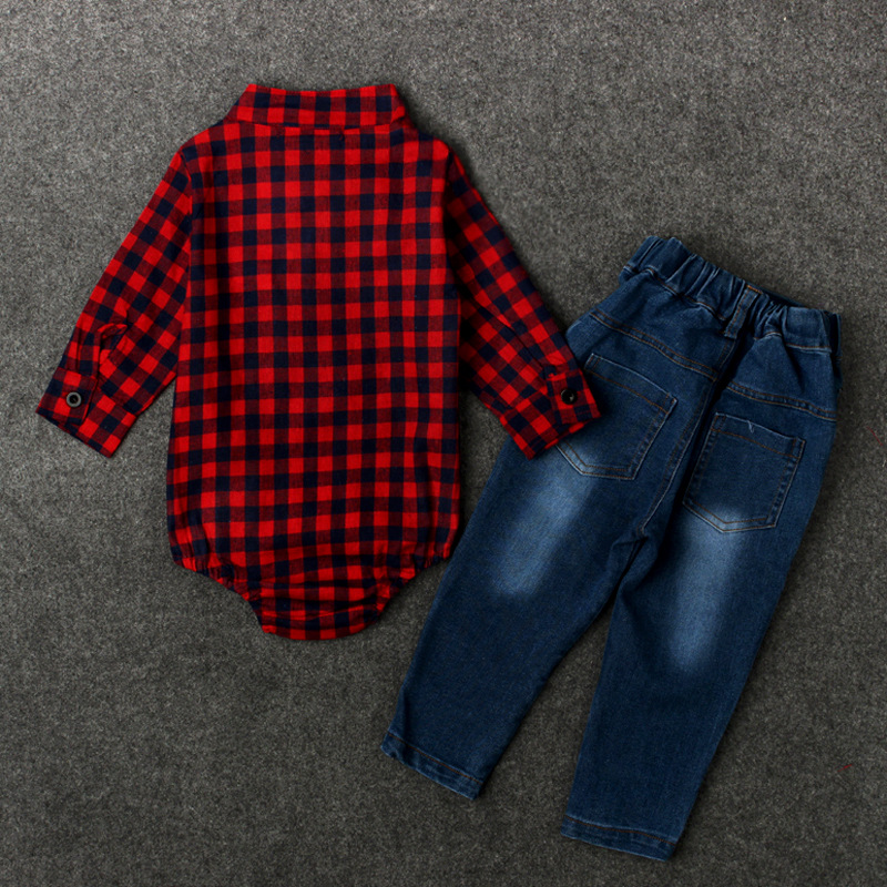 Baby Boys colthing set Newborn colthing set T-shirt + jeans Infant rompers Turn Down Collar Gentleman Tie Red Lattice costumes