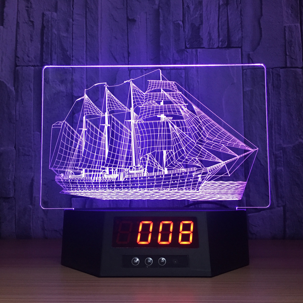 3D visual effects reading lamp touch remote control 3D lamp with calendar sailing boat as gift office decoration IY803991-37