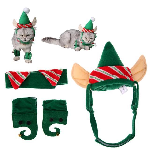 4 unids mascota sombrero juego caliente Perros Gatos Navidad ...