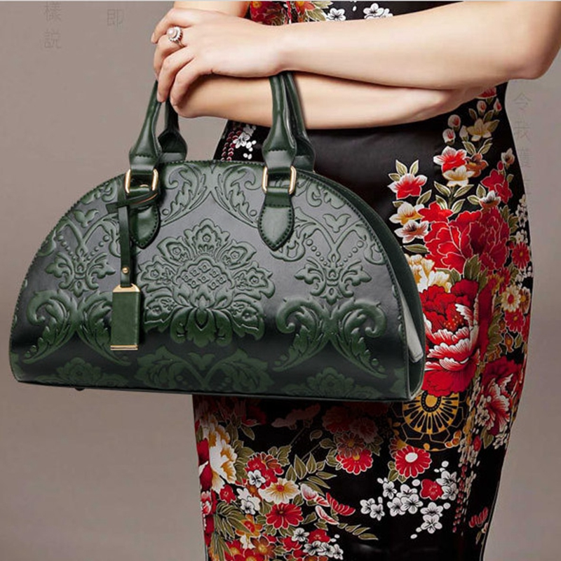 8031e8273c Berno fly New Flowers Embossed Chinese Style Vintage Fashion Women Shell Bag  Leather Women Handbag Ladies Shoulder Bag Female-in Shoulder Bags from  Luggage ...