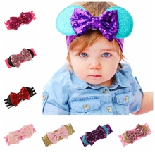 Yundfly Children Big Sequin Bow Elastic Headwraps Dot Cotton Blend Bowknot Hairband Newborn Birthday Gift Photoshoot