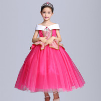 New Summer Girls Sleeping Beauty Dresses Sleeveless Children Aurora Princess Dresses Cartoon Pattern Kids Party Robe