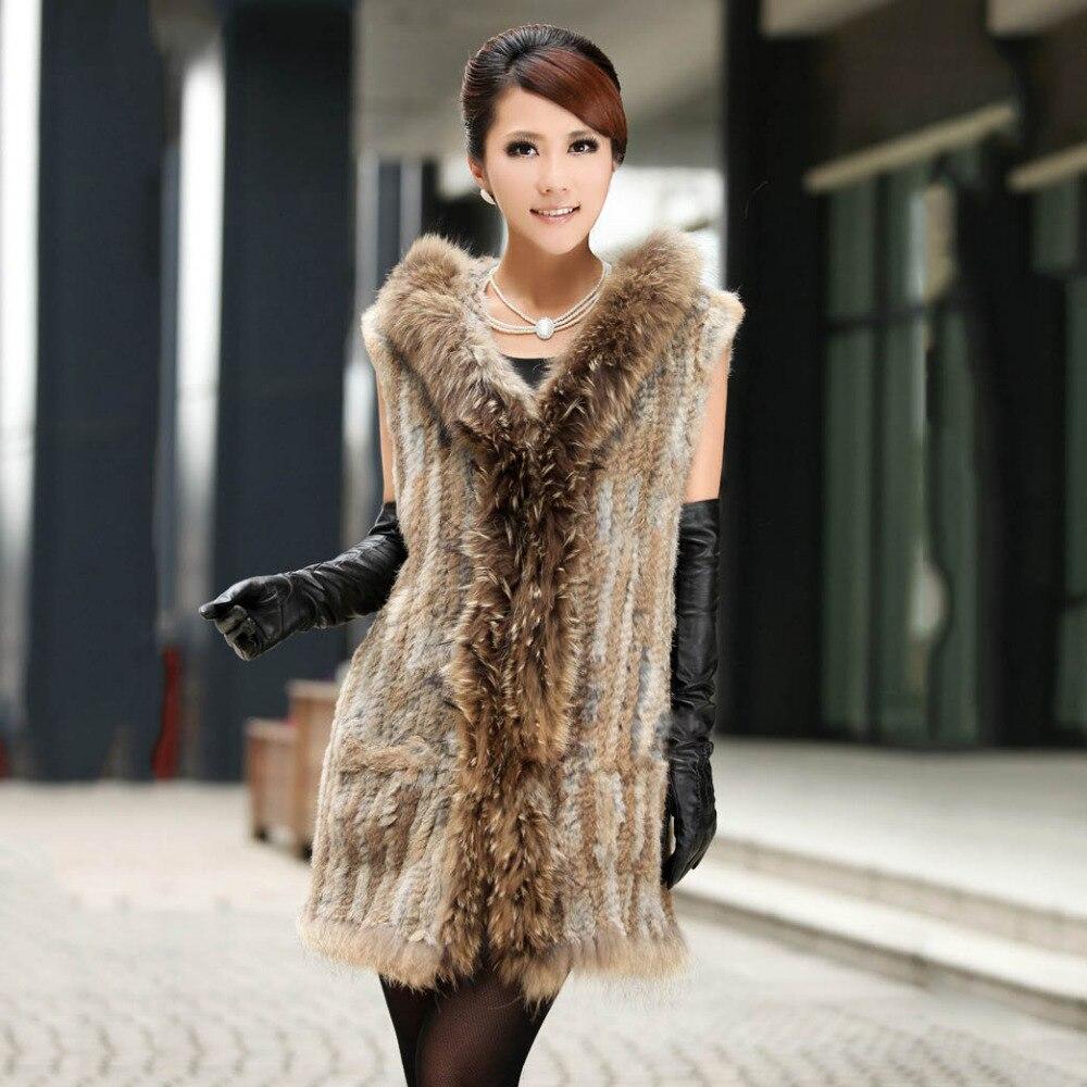 Gilet de fourrure de lapin naturel long style dame avec capuche fourrure de raton laveur garniture longue mode chaud femme gilet couleur marron fourrure