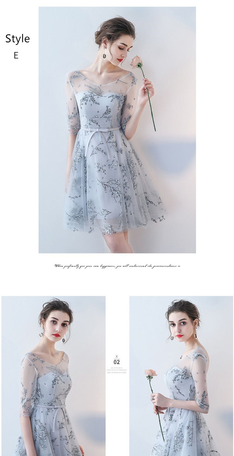 Flower Pattern Sashes Lace Knee Length Bridesmaid Dress 12