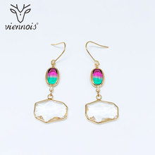 Viennois Gold Color Dangle Earrings Rhinestone Classic White Crystal Earring For Women Jewelry 2019