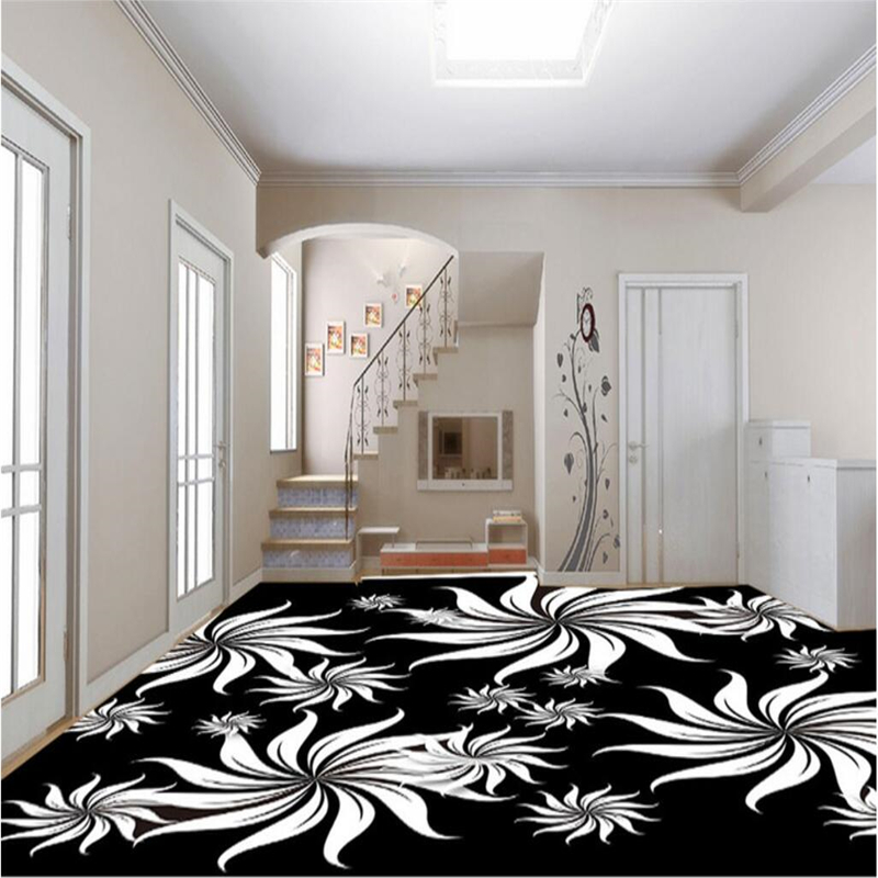 beibehang Custom mural wallpaper any size 3D black and white art pattern living room bedroom floor painting photo wallpaper beibehang custom photo floor painted