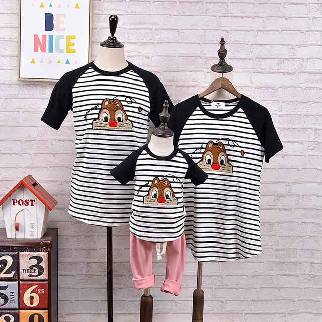 785a2398 Family look clothing new spring and summer loaded cartoon matching father  mother and daughter son mother baby outfits clothes
